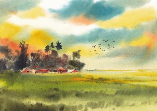 종이에 다채로운 자연 풍경 수채화 그림
