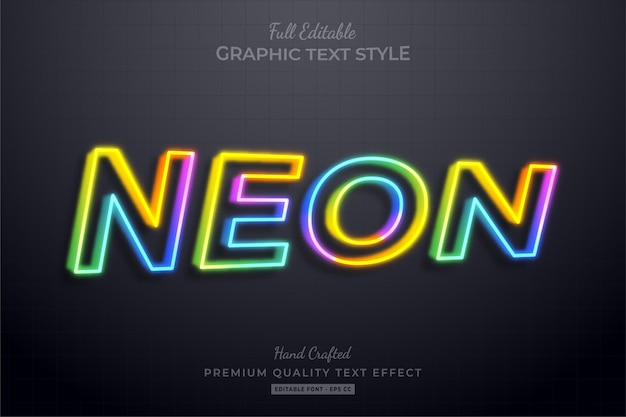 Colorful neon 3d editable text effect font style