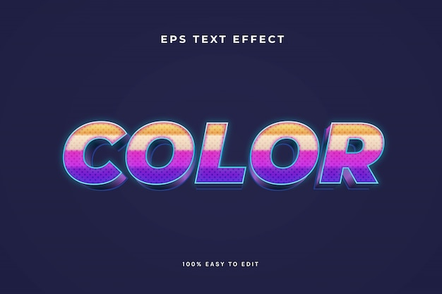 Colorful neon 3d text effect