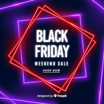 Colorful neon black friday