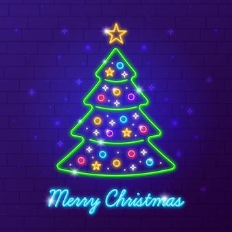 Colorful neon christmas tree