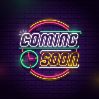 Colorful neon coming soon background