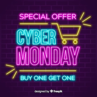 Colorful neon cyber monday