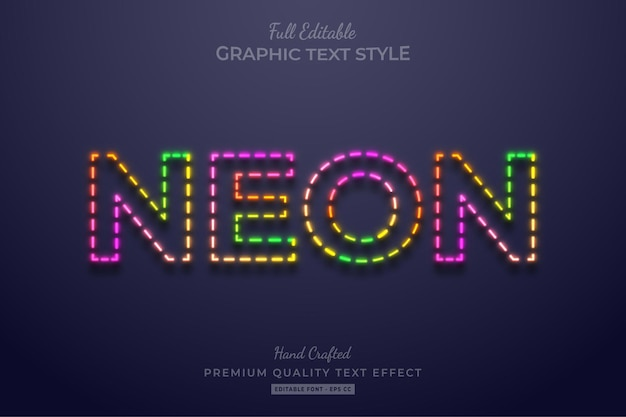 Colorful neon editable text effect font style