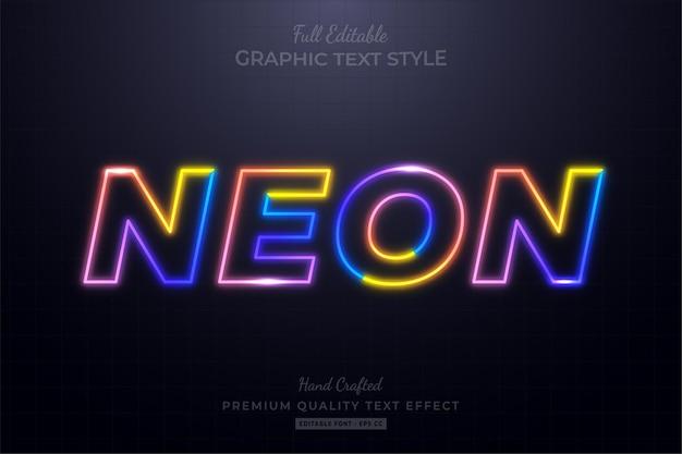 Красочный неоновый редактируемый текстовый эффект стиля шрифта