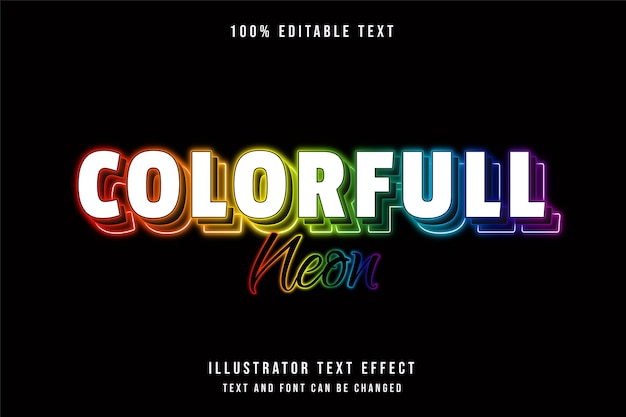 Colorful neon  editable text effect