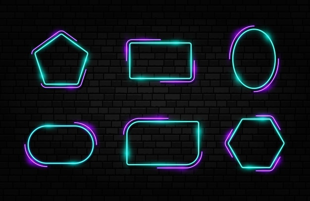 Colorful neon frame set different shape signs collection on dark concrete brick background.