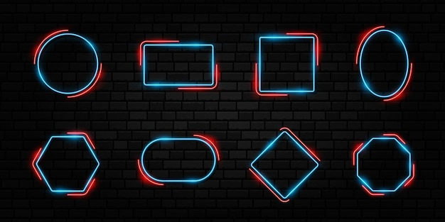 Colorful neon frame set different shape signs collection on dark concrete brick background