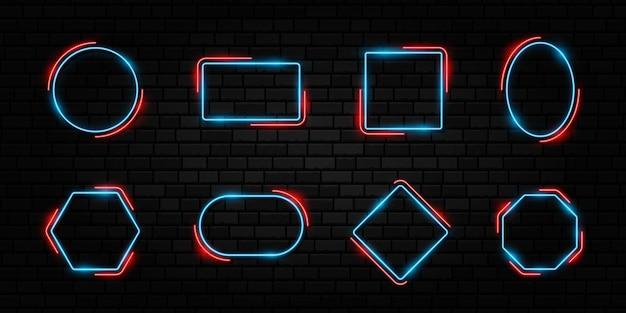 다채로운 네온 프레임 세트 어두운 콘크리트 벽돌 배경에 다른 모양 표지판 컬렉션