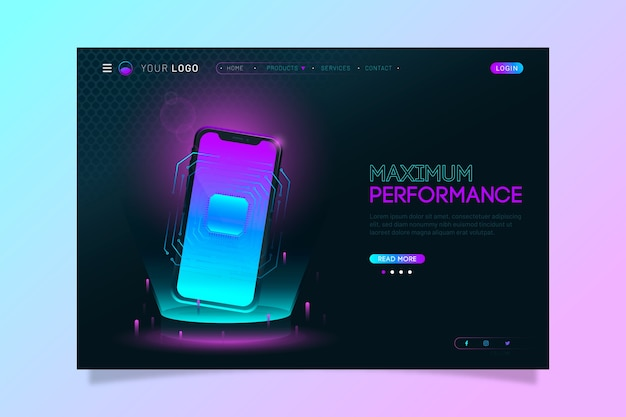 Colorful neon landing page with smartphone