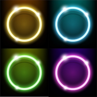 Colorful neon light circle ring