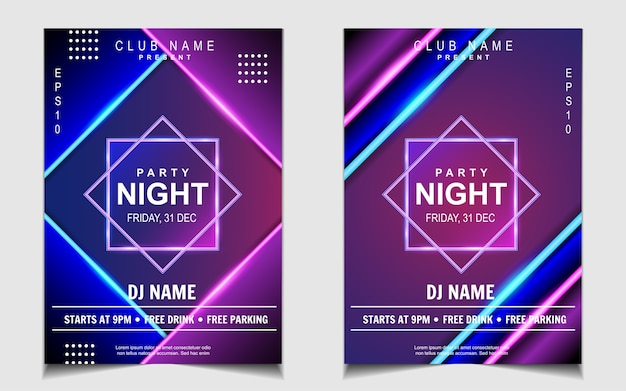 Colorful neon light night dance party music flyer or poster design