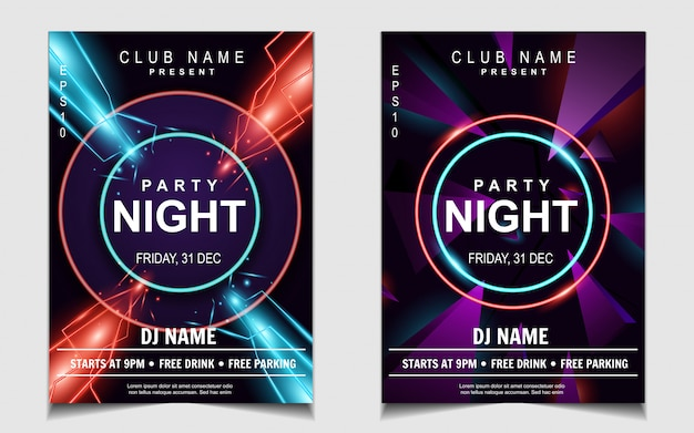Colorful neon light night dance party music flyer