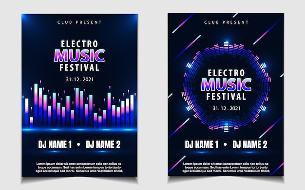 Colorful neon light party music poster design