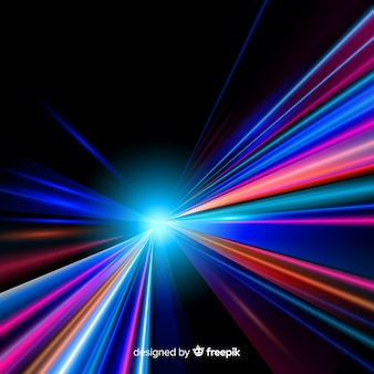 Colorful neon light trail background
