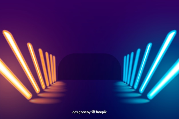 Colorful neon lights stage background