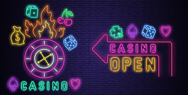 Colorful neon luminous casino and open signs on purple realistic bricklaying wall