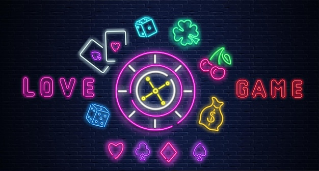 Colorful neon luminous love game casino sign on purple realistic bricklaying wall