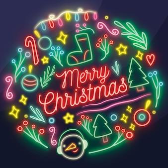 Colorful neon merry christmas