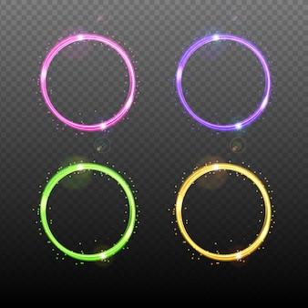 ライト効果のあるカラフルなネオンラウンドフレーム。セットする。