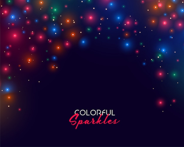 Colorful neon sparkles on dark background