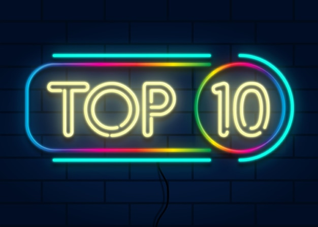 Colorful neon top ten sign