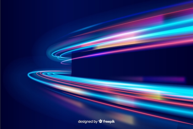 Colorful neon wavy light trail background