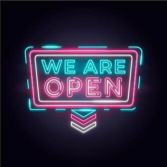 カラフルなネオン「私たちは開いています」サイン