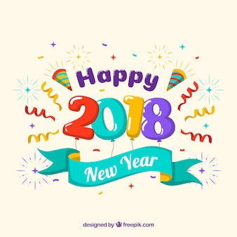 Colorful new year 2018 background