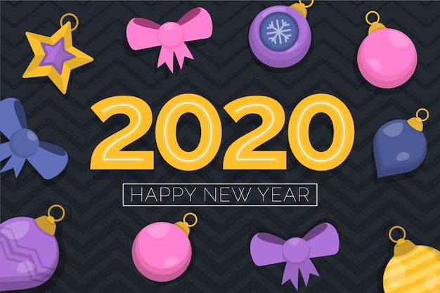 Colorful new year 2020 background in flat design