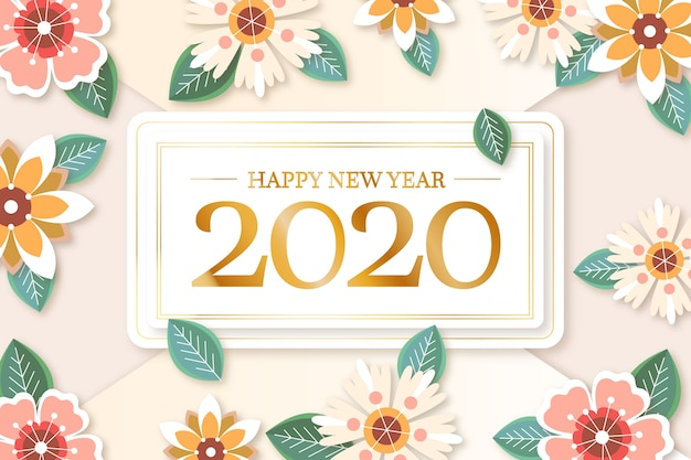 Colorful new year 2020 background in paper style