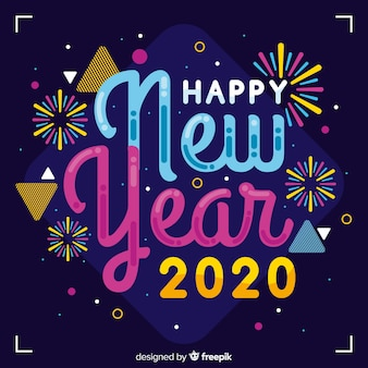 Colorful new year 2020 in flat design