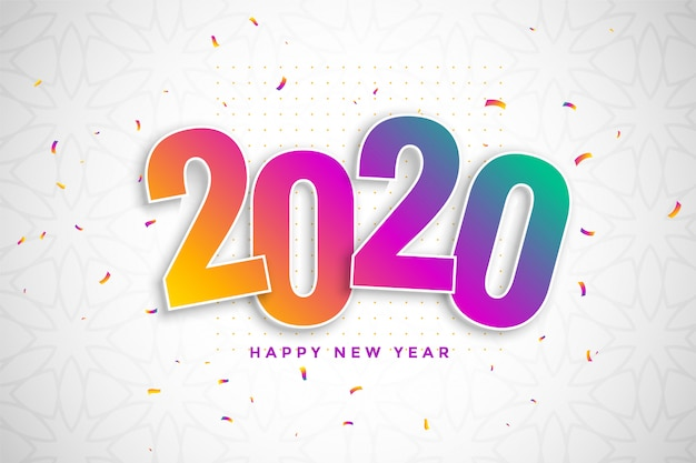 Colorful new year background in 3d style with confetti