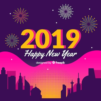 Colorful new year background with modern style