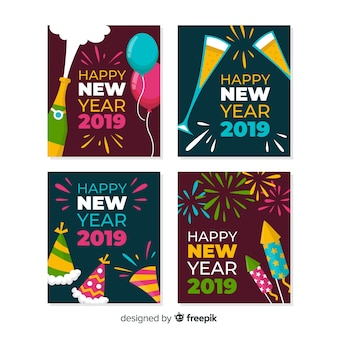 Colorful new year party cards collection