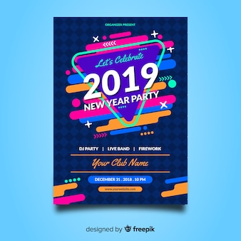 Colorful new year party poster with abstract design