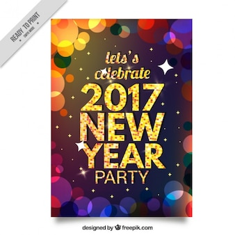Colorful new year's party abstract bokeh brochure