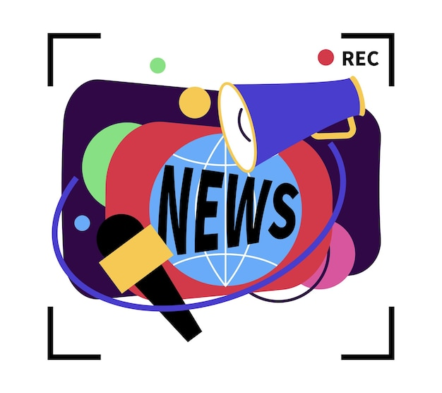 Colorful news on tv channel composition with record signs flat