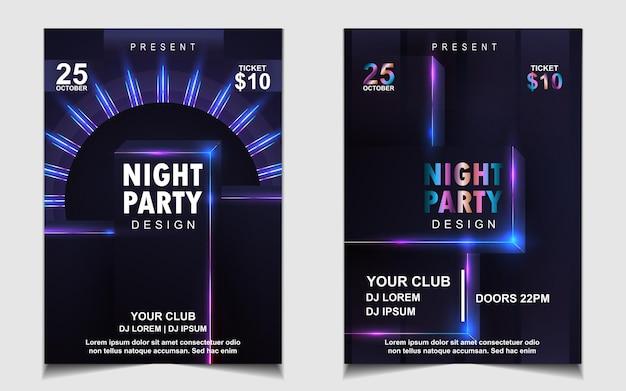 Красочная ночная танцевальная вечеринка флаер или дизайн плаката