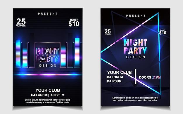 Красочная ночная танцевальная вечеринка музыкальный флаер или дизайн плаката