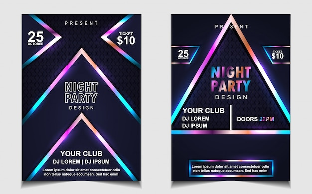Красочный ночной танец музыка флаер или дизайн плаката
