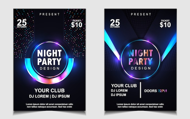 Colorful night dance party music poster design