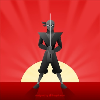 Colorful ninja warrior background with flat design