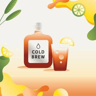 Colorful nitro cold brew illustration Premium Vector