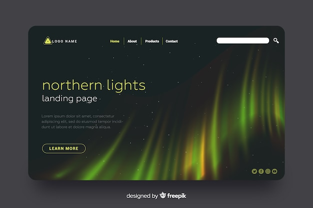 Colorful northern light landing page