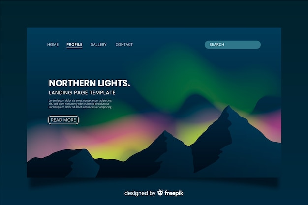 Colorful northern lights landing page