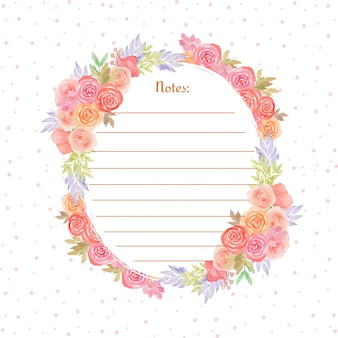 Colorful note page with gorgeous watercolor flowers