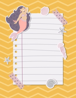 Colorful note page with a mermaid, seaweed, fishes and shells. vector illustration.