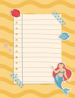 Colorful note page with a mermaid, seaweed, fishes and shells.