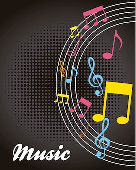 Colorful notes musicals over black background vector illustration